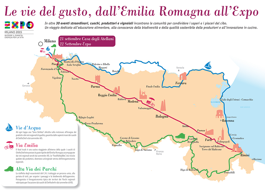 UNA CARTOGUIDA PER L'EMILIA-ROMAGNA IN VIAGGIO VERSO EXPO