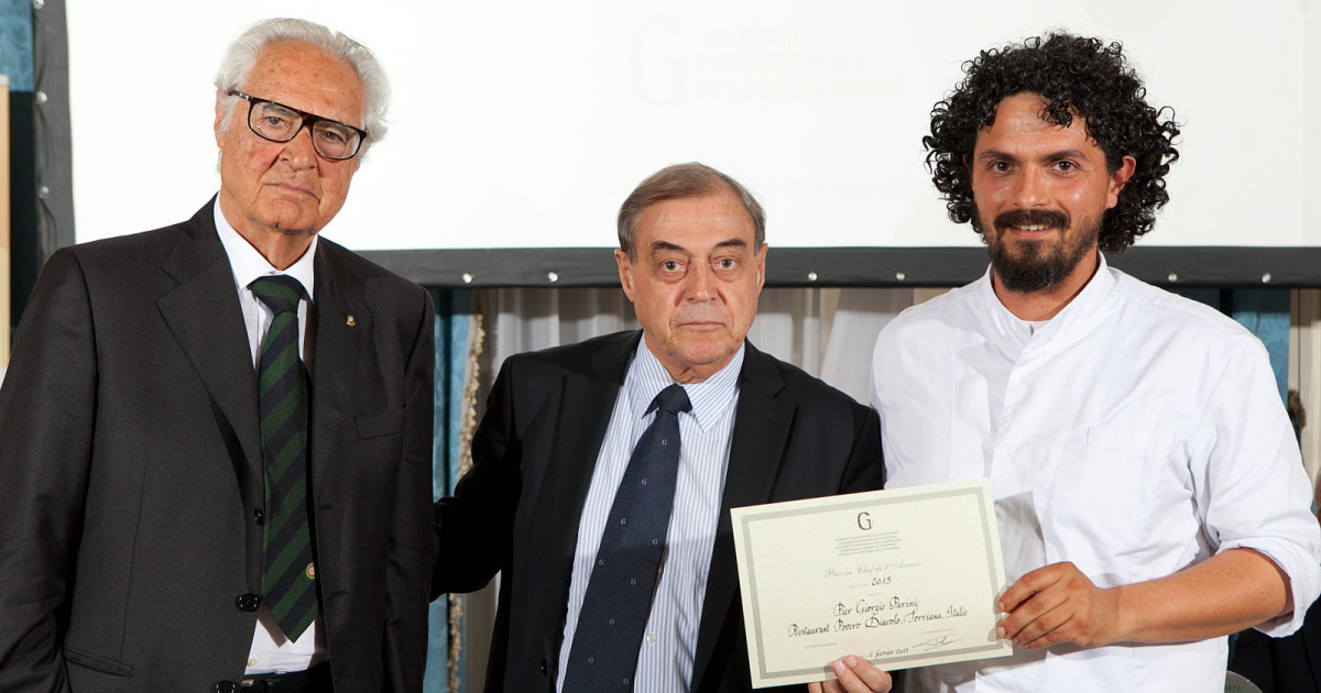 Pier Giorgio Parini,  premiato quale Chef de l'Avenir dall'Académie Internationale de la Gastronomie